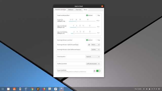 Dash to Panel Gnome Shell extension