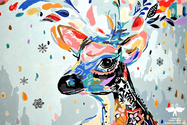 Deer with Snowflakes Stamped Paint-by-Number Canvas by Dana Tatar for Paper Wings Productions