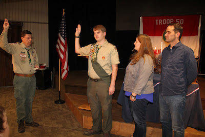Scoutmaster Baird administers the Eagle Scout Charge to Jacob