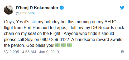 Koko Master, D'banj's Gold Chain Worth Millions Of Naira Stolen On A