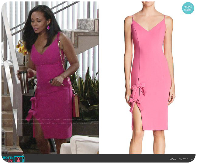 Hilary on The Young & The Restless in Black Halo Mystic Bow Dress