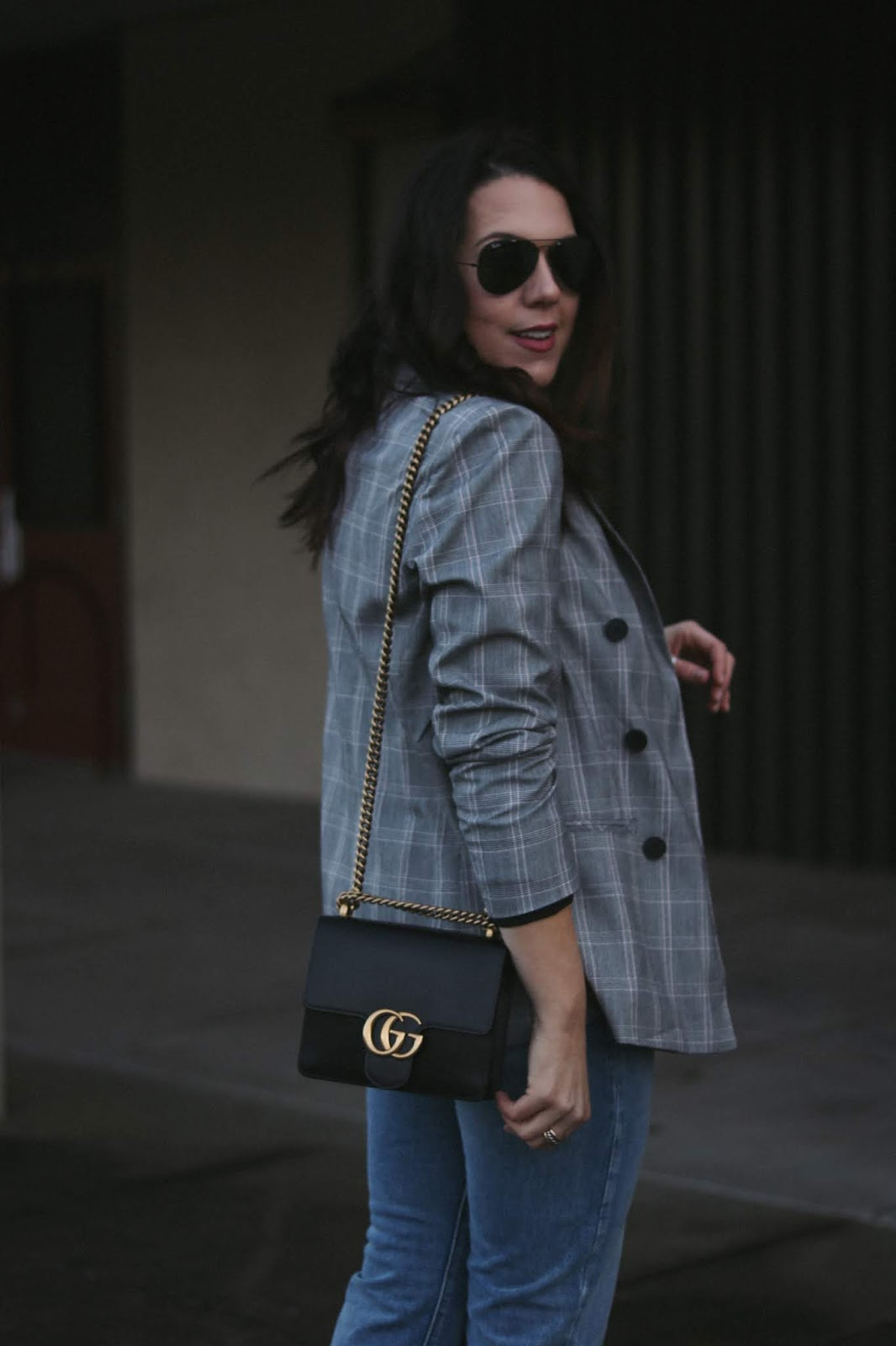plaid blazer outfit le chateau vancouver fashion blogger aleesha harris