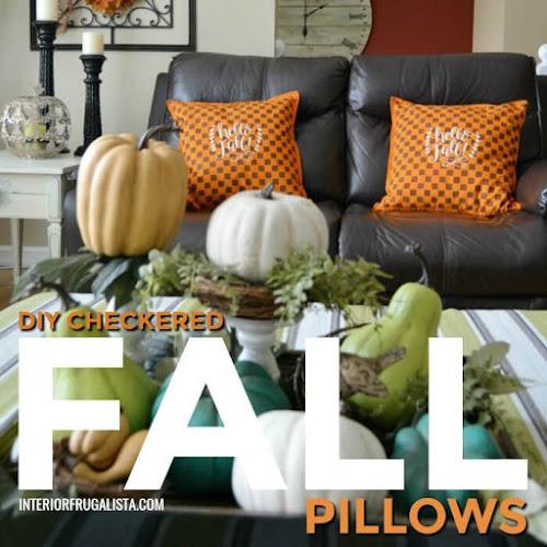 Unique Stenciled Hello Fall Checkered Pillow Covers
