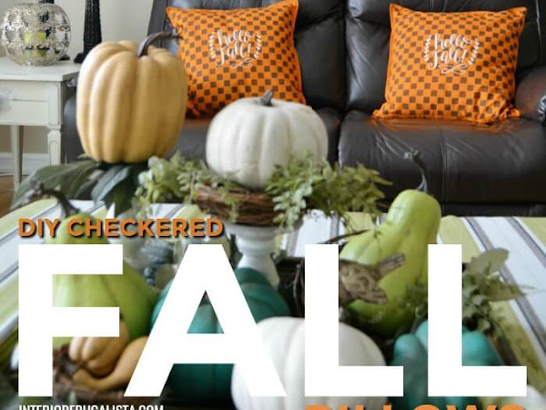 Stenciled Orange And Brown Checkered Fall Pillows