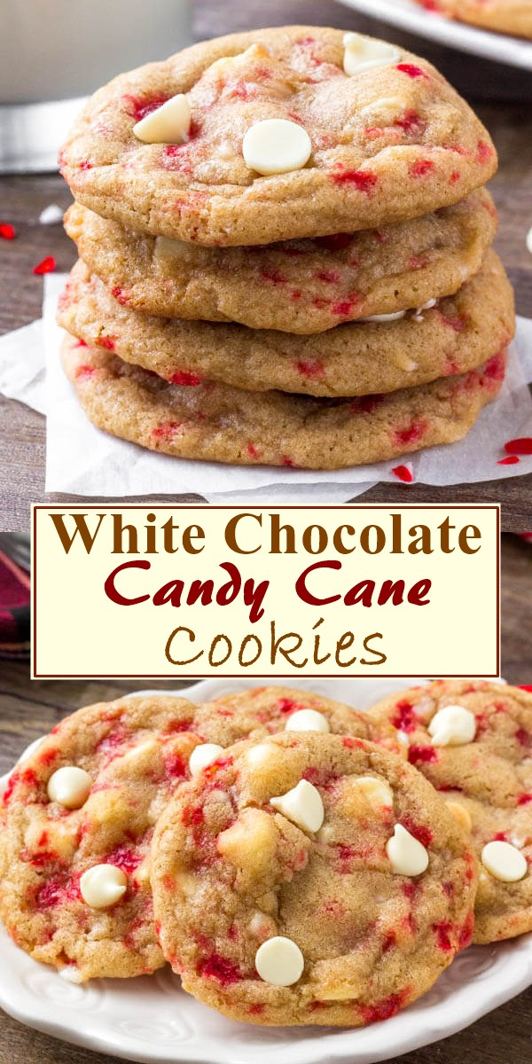 White Chocolate Candy Cane Cookies #cookiesrecipes
