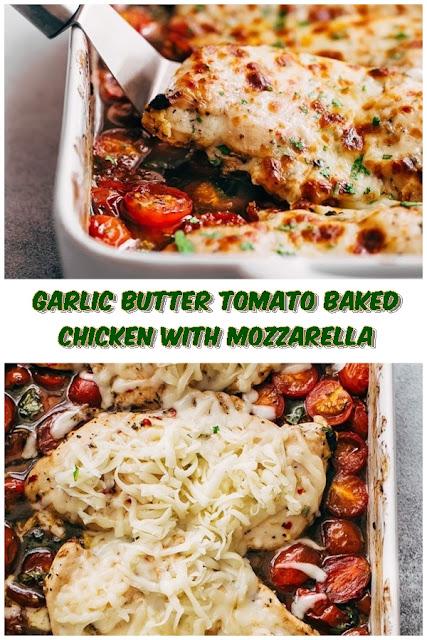 #Garlic #Butter #Tomato #Baked #Chicken #with #Mozzarella #crockpotrecipes #chickenbreastrecipes #easychickenrecipes #souprecipes