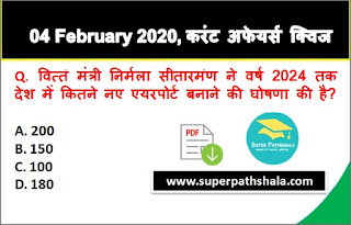 Daily Current Affairs Quiz in Hindi 04 February 2020