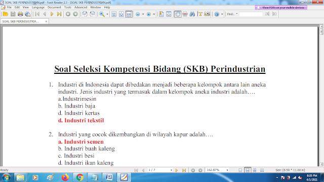 Download contoh soal pppk skb perindustrian dan kunci jawaban