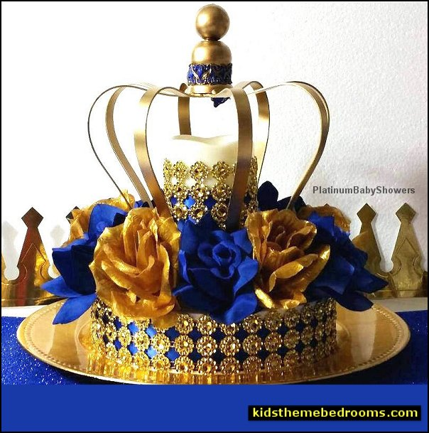Crown Royal Prince Baby Shower Centerpiece Royal Blue and Gold Baby Shower Theme and Prince Decorations