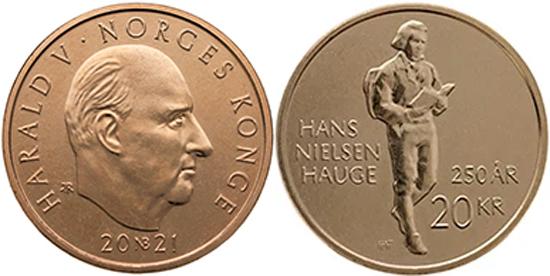 Norway 20 krone 2021 - Hans Nielsen Hauge