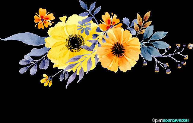 Sarı, Turuncu Çiçek Vektör