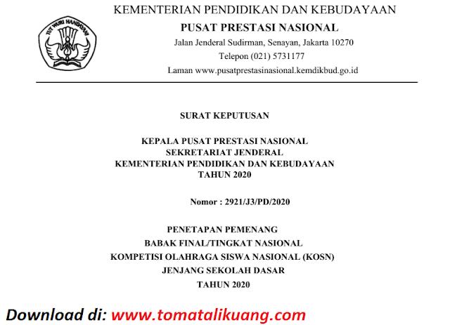 sk pemenang peraih medali emas perak perunggu kosn jenjang sd tingkat nasional tahun 2020 pdf tomatalikuang.com