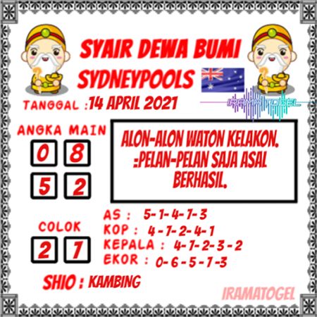 Syair Dewa Bumi Sidney Rabu 14 April 2021