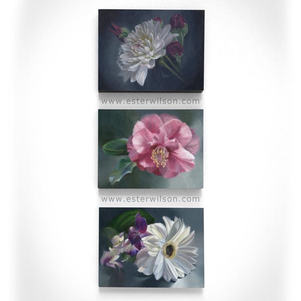 """Three 8"""" x 6"""" oil paintings of flowers on wood panel"""
