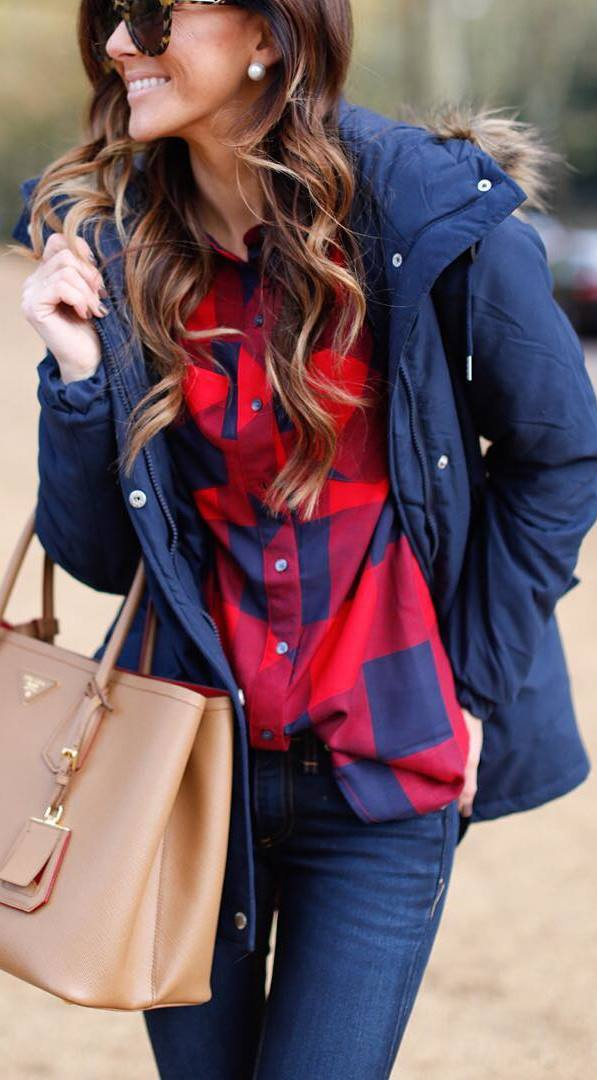 what to wear with a parka : palid shirt + bag + skinny jeans