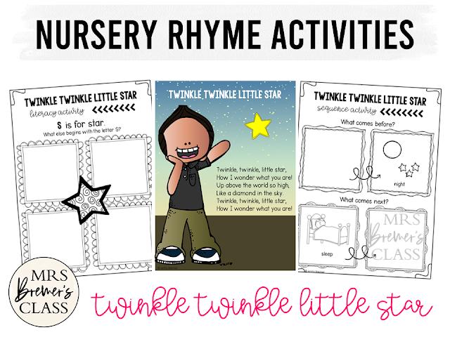 Nursery Rhyme activities for Kindergarten Twinkle Twinkle Little Star