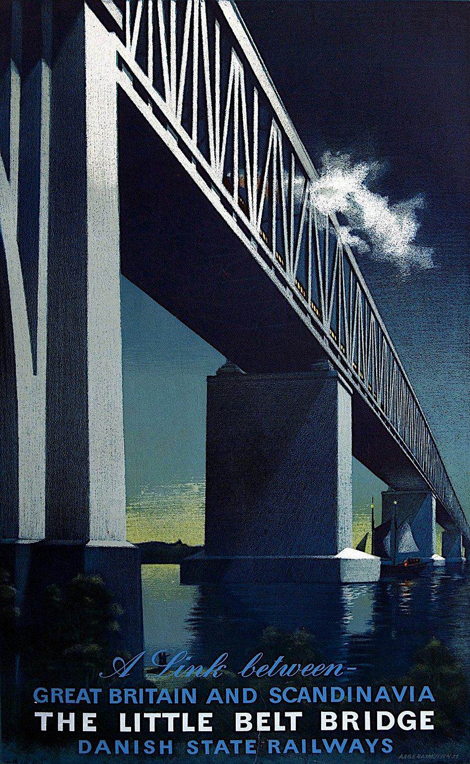 a Danish rail poster in color, The Little Belt Bridge