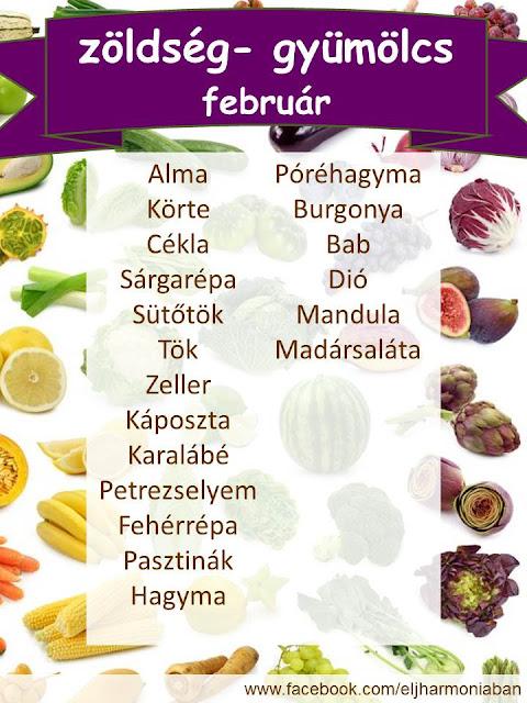 idény zöldség, idény gyümölcs, szezonális, februéri zöldségek,