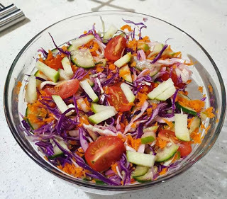 This coleslaw salad is nothing fancy it's made with simple ingredients that you probably already have in your pantry. We have coleslaw at least once in a week. Of course I'm talking about homemade.