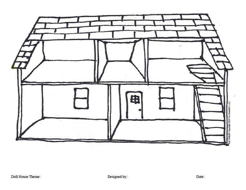 Line Art Doll House : Desenhos de casinha boneca para colorir