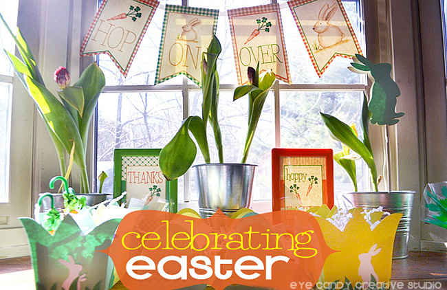 celebrating easter, hop on over banner, easter banner, easter flowers