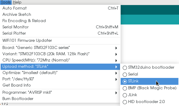 Configure blue pill in Arduino for ST-Link