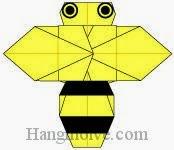 Bước 14: Vẽ mắt, sọc để hoàn thành cách xếp con ong bằng giấy theo phong cách origami.
