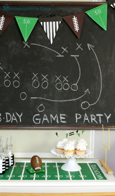 chalkboard with game plans and football field tray - football party decor
