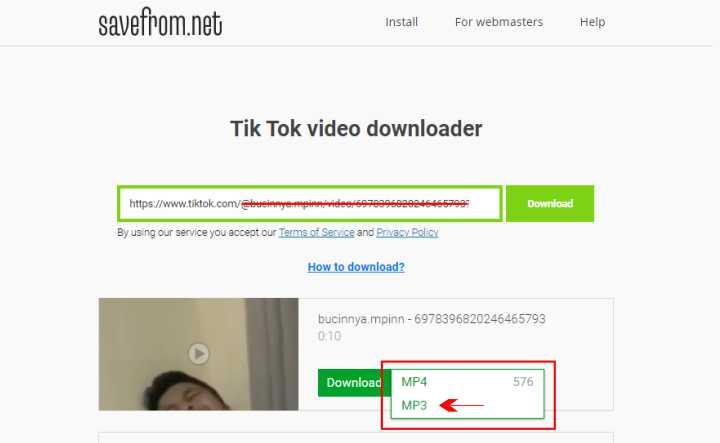 Ubah format MP4 menjadi MP3 savefromnet