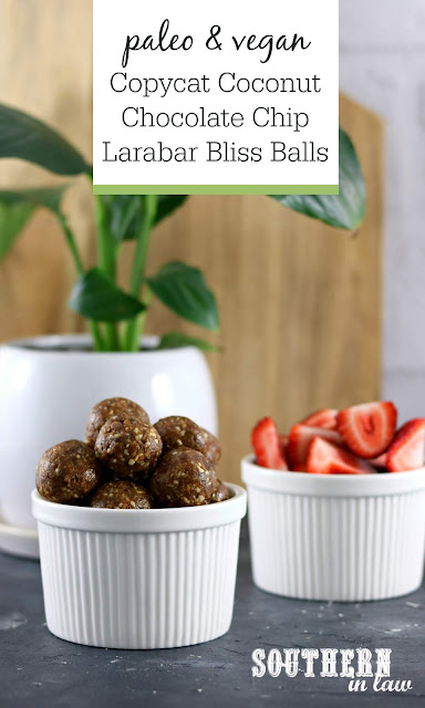 Copycat Coconut Chocolate Chip Larabar Bliss Ball Recipe - gluten free, paleo, vegan, sugar free, healthy recipe, grain free