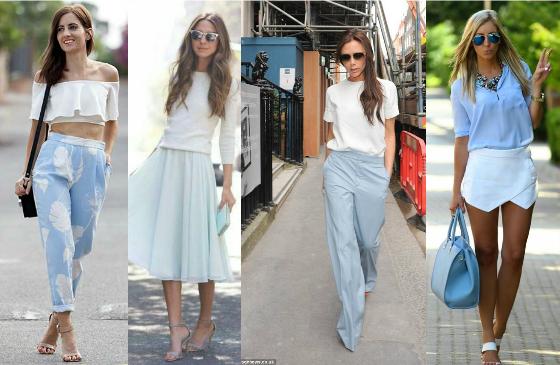 azul serenity com branco moda