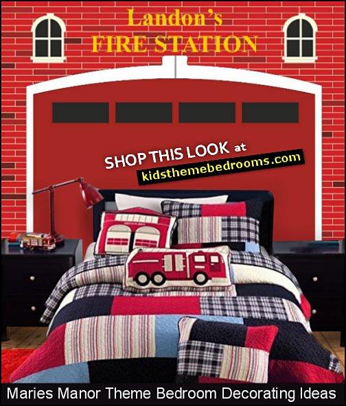 Patchwork Firetruck Themed Quilt fire station wall decal fire engine pillows