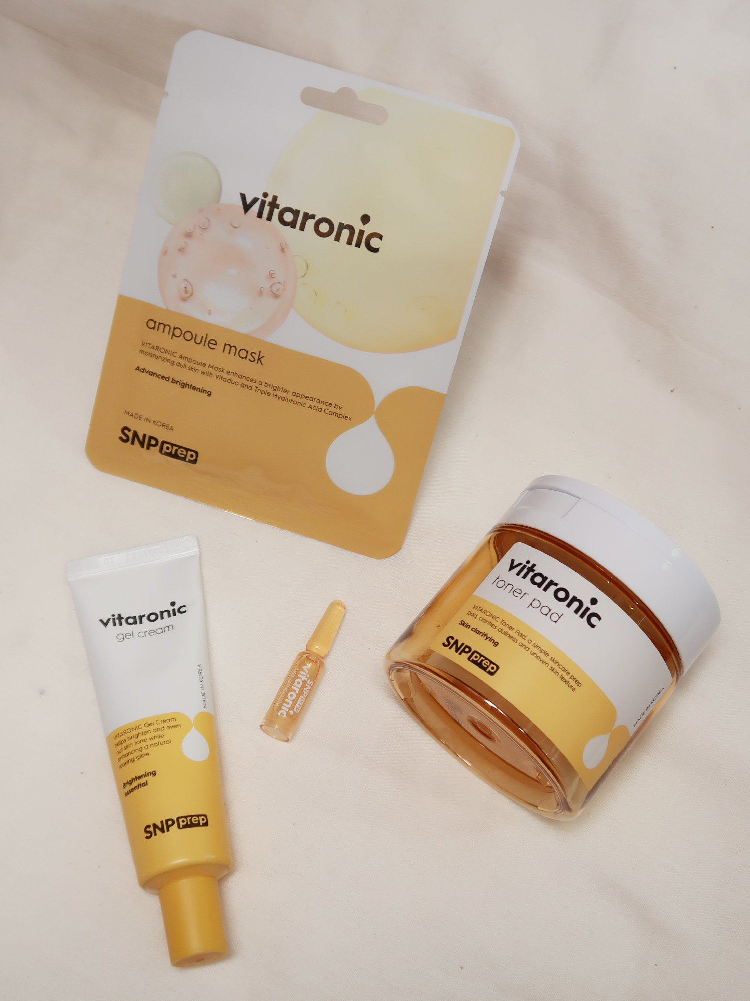 Prep Vitaronic Toner Pad, SoS Ampoule, Gel Cream, and Ampoule Mask
