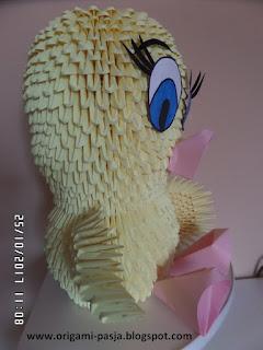 Tweety, bajka, origami, 3d, modułowe, żółty, ptak, ptaszek w klatce, z klatki, kot