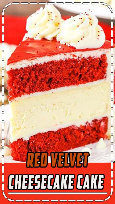 Red Velvet Cheesecake Cake with layers of moist red velvet cake and creamy cheesecake, covered in cream cheese frosting! A classic Red Velvet recipe! #redvelvet #cheesecake #cake #valentines #dessert