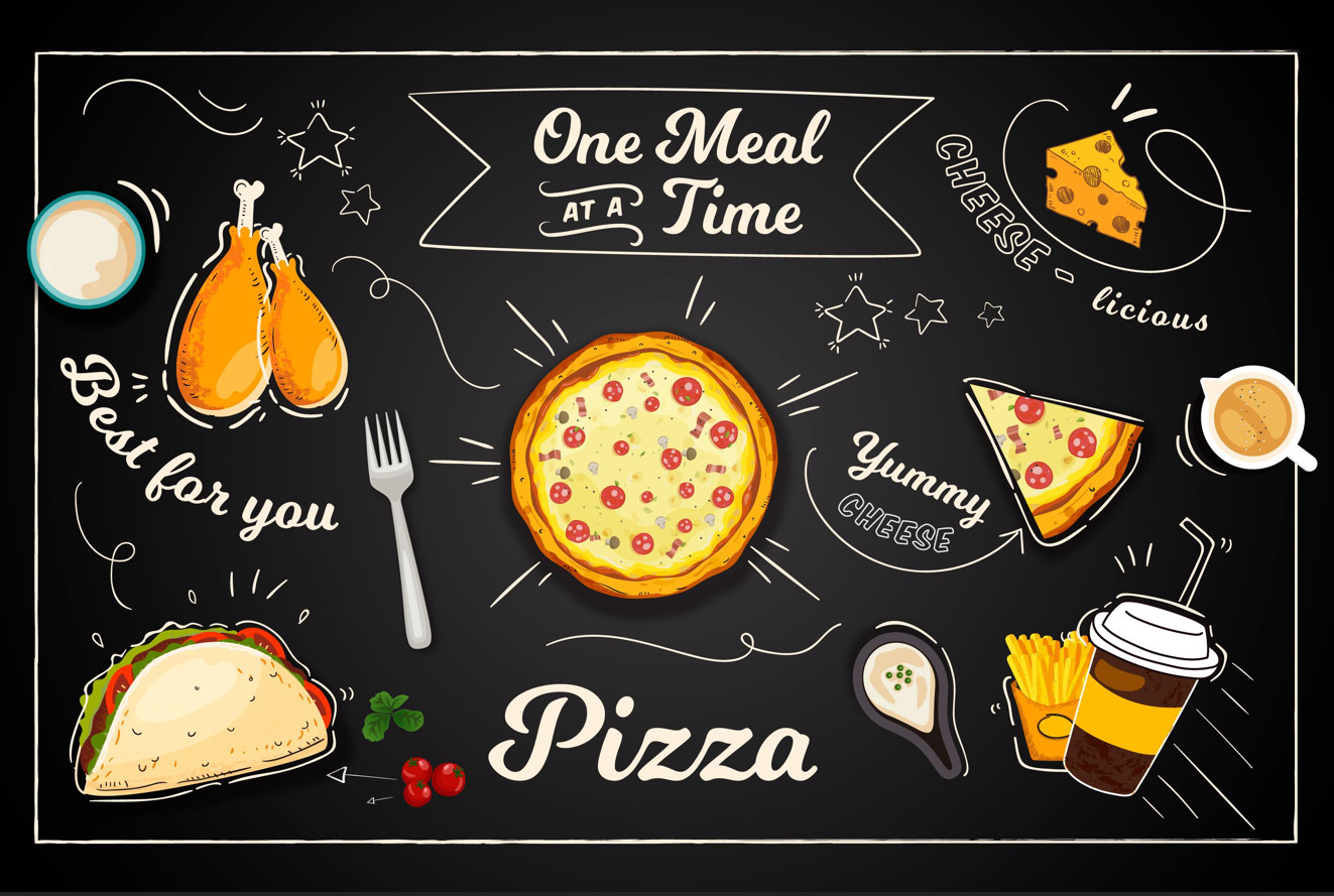 A set of food backgrounds available in vector photoshop format