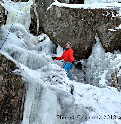 ice climbing, kinsman notch, leprechaun's lement,