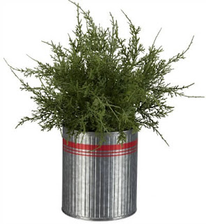 tabletop tree in red striped metal bucket