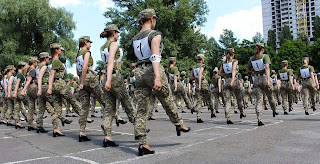 Outrage in Ukraine defence ministry after female soldiers march in heels