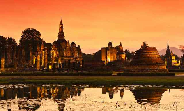 Kota tua Sukhothai Thailand