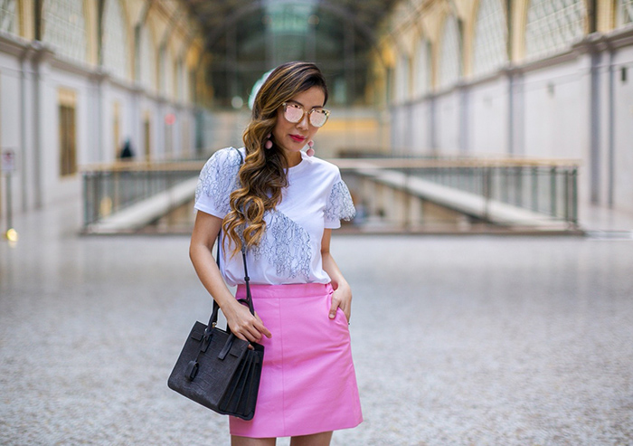 Topshop ruffle tee, topshop pink skirt, pink leather skirt, christian louboutin pink pumps, baublebar crispin pink drops, quay sunglasses, saint laurent sac de jour bag, spring outfit ideas, san francisco fashion blog, san francisco street style