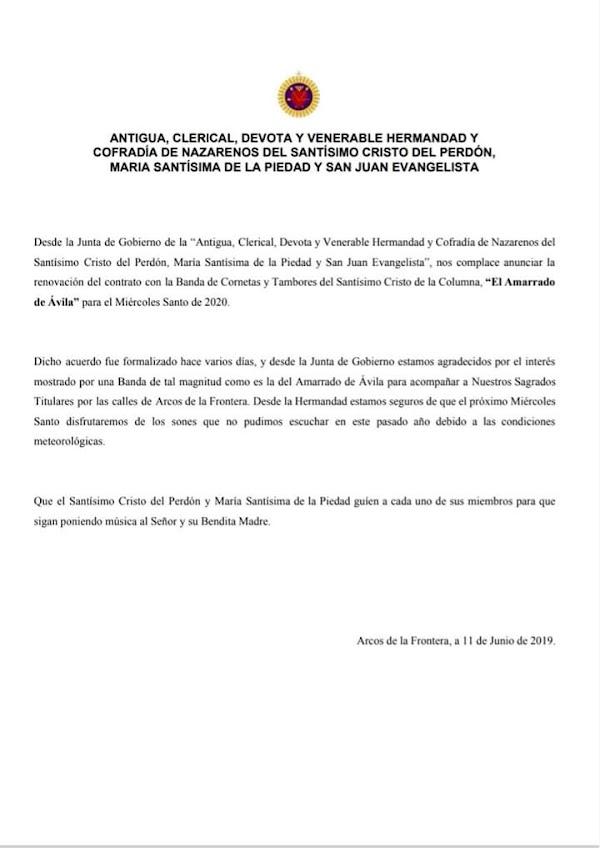 La Banda de Cornetas y Tambores del Amarrado de Ávila seguirá el Miércoles Santo en Arcos