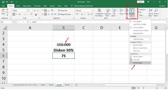 Cara Coret Tulisan di Excel menggunakan Strikethrought