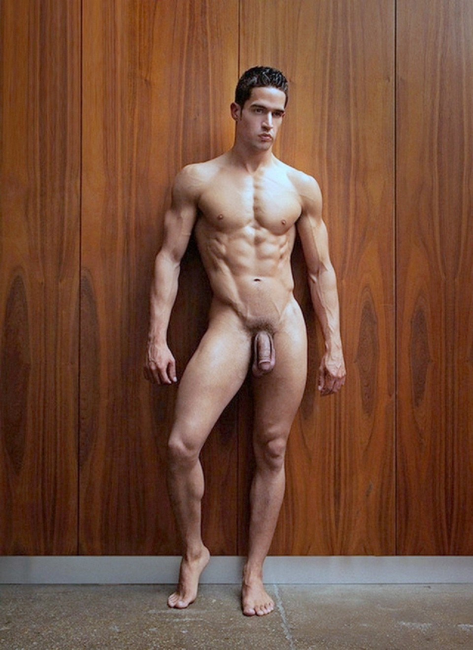 Naked sportsmen in the showers