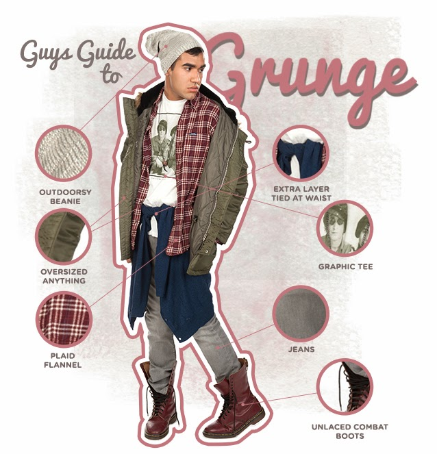 Guys Guide to Grunge Fashion. #PMRC PunkMetalRap.com
