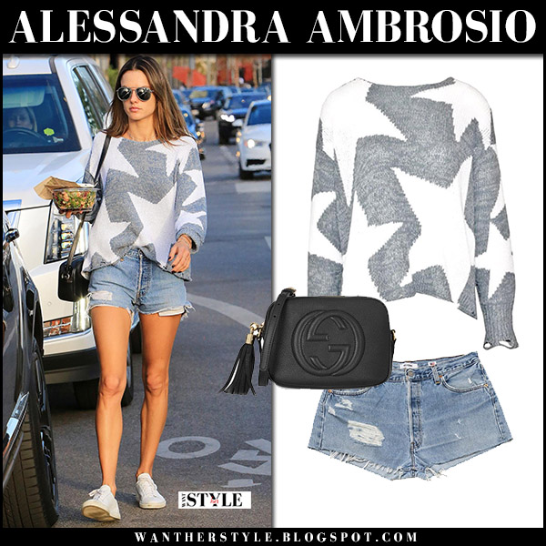 Alessandra Ambrosio in grey stars knit sweater wildfox and denim shorts re/done street style december 11