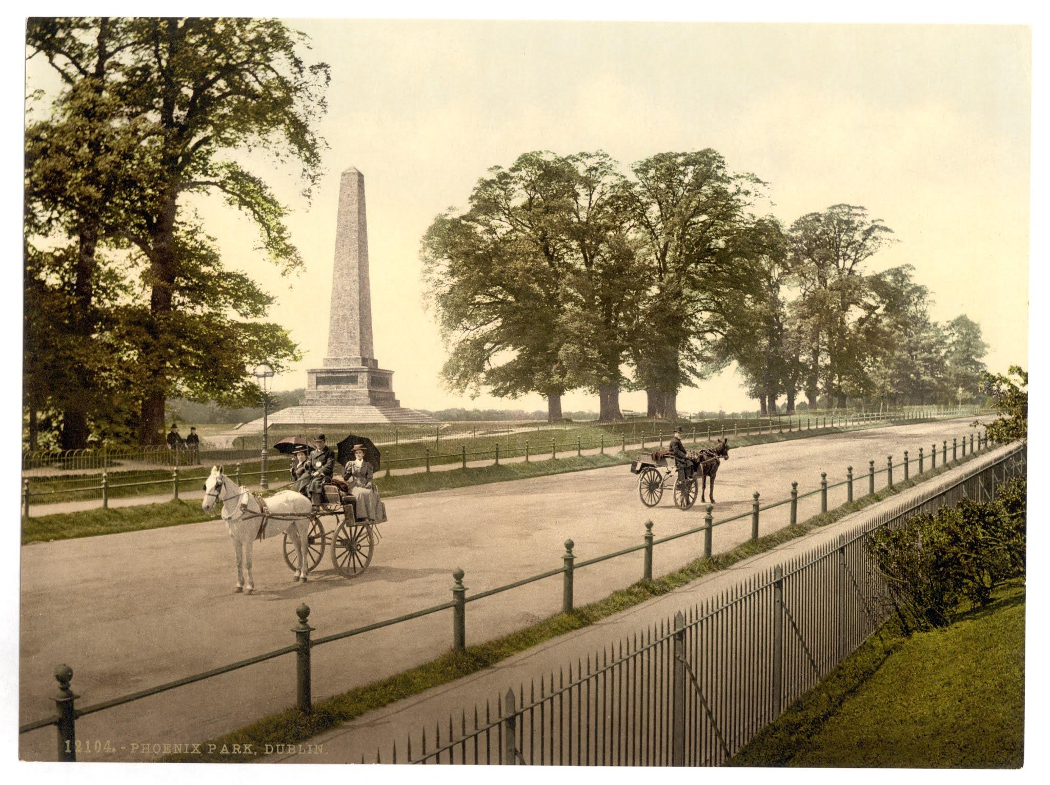 ダブリン市のフェニックスパークのウェリントン記念碑が見える道に二台の二輪馬車が停まっている