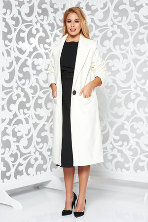 palton dama alb stofa