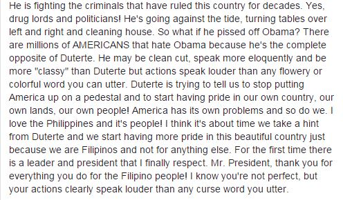 Fil-Am Singer Pays Highest Respect To Duterte Saying 'For The First Time There Is Finally A Leader And President That I Finally Respect'