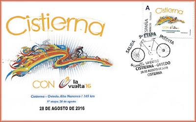 Sobre de la 9ª etapa de la Vuelta ciclista a España Cistierna-Oviedo